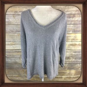 DKNY Gray Sequin Design V Neck 3/4 Sleeve Sweater